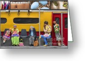 Urban Transit Scene Sculpture Greeting Cards - Lonely Travelers - Crop Of Original - To See Complete Artwork Click View All Greeting Card by Anne Klar