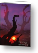 Bright Color Greeting Cards - Lonely Tree Silhouette On Sunset Greeting Card by Setsiri Silapasuwanchai