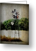 Windmill Mixed Media Greeting Cards - Lonely Windmill Greeting Card by Julie Hamilton