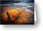 Mooring Greeting Cards - Lonely Yellow Buoy Greeting Card by Meirion Matthias