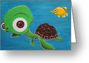 Lonesome Greeting Cards - Lonesome Fish And Friendly Turtle Greeting Card by Landon Clary