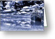 Long Beach Island Photos Greeting Cards - Long Beach Island Bay blue toned Greeting Card by John Rizzuto