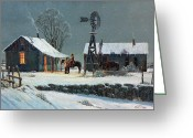 Ranch Greeting Cards - Long Days End Greeting Card by Randy Follis