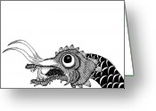 Mystical Drawings Greeting Cards - Long Dragon Greeting Card by Karl Addison