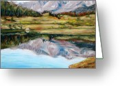 Lakes Pastels Greeting Cards - Long Draw Reservoir Greeting Card by Mary Benke