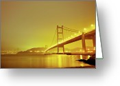 Ma Greeting Cards - Long-exposed Photo Of Hks Tzing Ma Bridge Greeting Card by Lim William