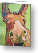 Goofy Greeting Cards - Long Face Greeting Card by Sandy Tracey