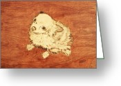 Dog Art Pyrography Greeting Cards - Long Hair Chihuahua Greeting Card by Jeremy Cardenas