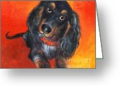 Bright Drawings Greeting Cards - Long haired Dachshund dog puppy Portrait painting Greeting Card by Svetlana Novikova