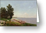 Hudson River School Greeting Cards - Long Island Sound at Darien Greeting Card by John Frederick Kensett