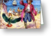 Piracy Greeting Cards - Long John Silver and his Parrot Greeting Card by James McConnell
