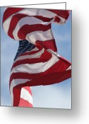 Red White And Blue Greeting Cards - Long May She Wave Greeting Card by Lauri Novak