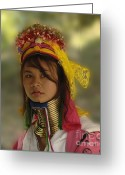 Long Neck Greeting Cards - Long Neck Beauty Karen Tribe Greeting Card by Bob Christopher