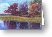Pond Painting Greeting Cards - Long Pond Reflections Greeting Card by Michael Camp