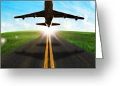 Touchdown Greeting Cards - Long Road And Plane Greeting Card by Setsiri Silapasuwanchai