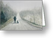 Alone Greeting Cards - Long Road Home Greeting Card by Ally Benbrook