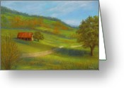 Lanscape Pastels Greeting Cards - Long Road Home Greeting Card by Pat Neely