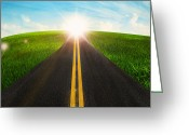 Sun Abstract Digital Art Greeting Cards - Long Road In Beautiful Nature  Greeting Card by Setsiri Silapasuwanchai