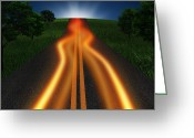 Journey Greeting Cards - Long Road In Twilight Greeting Card by Setsiri Silapasuwanchai