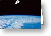 Space Travel Greeting Cards - Long Shot Of Astronaut In Space Greeting Card by Stocktrek Images