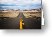 Yellow Line Greeting Cards - Long Straight Road Greeting Card by Andrew A Smith