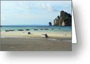 Rowboat Greeting Cards - Long Tail Boats In Bay Of Phi Phi, Thailand Greeting Card by Thepurpledoor