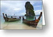Ocean Scenes Greeting Cards - Long Tail Boats Thailand Greeting Card by Bob Christopher