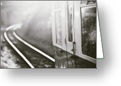 Railroad Track Greeting Cards - Long Train Running Greeting Card by James Homer