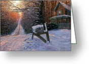Gold Painting Greeting Cards - Long Way From Home Greeting Card by Doug Kreuger