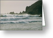 Oceans And Seas Greeting Cards - Long, Windswept Waves March Greeting Card by Sisse Brimberg