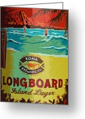 Diamond Head Greeting Cards - Longboard Lager Greeting Card by Bill Owen