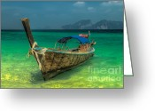 Moored Greeting Cards - Longboat Greeting Card by Adrian Evans