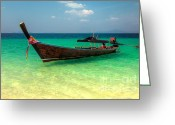 Ribbons Greeting Cards - Longboat Thailand Greeting Card by Adrian Evans
