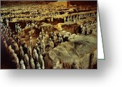 Qin Shi Huang Greeting Cards - Longbow Archers Stand In Front Rows Greeting Card by O. Louis Mazzatenta