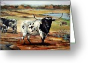 Cattle Greeting Cards - Longhorn Land Greeting Card by Cynara Shelton