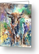 Longhorns Greeting Cards - Longhorn Steer Greeting Card by Arline Wagner