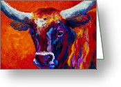 Cowboys Greeting Cards - Longhorn Steer Greeting Card by Marion Rose