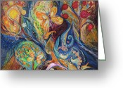 Signed Greeting Cards - Longing for Chagall Greeting Card by Elena Kotliarker