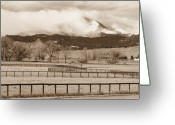 Walls Framed Prints Prints Greeting Cards - Longs Peak - Storm and Fences - Sepia Image Greeting Card by James Bo Insogna