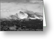 Walls Framed Prints Prints Greeting Cards - Longs Peak and a Mean Storm Greeting Card by James Bo Insogna