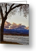 Meeker Greeting Cards - Longs Peak and Mount Meeker Across the Lake Sunset View Greeting Card by James Bo Insogna