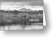Meeker Greeting Cards - Longs Peak and Mt Meeker Sunrise at Golden Ponds BW  Greeting Card by James Bo Insogna