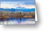 Meeker Greeting Cards - Longs Peak and Mt Meeker Sunrise at Golden Ponds Greeting Card by James Bo Insogna