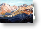 National Painting Greeting Cards - Longs Peak from Trail Ridge Road Greeting Card by Mary Giacomini