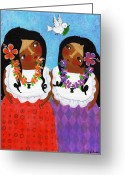 Island Cultural Art Greeting Cards - Look a Dove Greeting Card by Jennifer R S Andrade