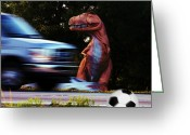 Dinosaur Soccer Greeting Cards - Look Both Ways Greeting Card by John Baldwin