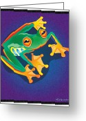 Red-eyed Frogs Greeting Cards - Lookin at you Greeting Card by Nick Gustafson