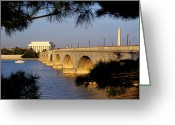 Lincoln Memorial Photo Greeting Cards - Looking Across Arlington Memorial Greeting Card by Rex A. Stucky
