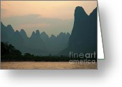 Peak One Greeting Cards - Looking across the Li Jiang River at the limestone mountain peaks between Xinping and Yangshuo Greeting Card by Sami Sarkis