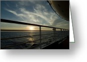 Cruise Ships Greeting Cards - Looking At Sunset Through The Railing Greeting Card by Todd Gipstein